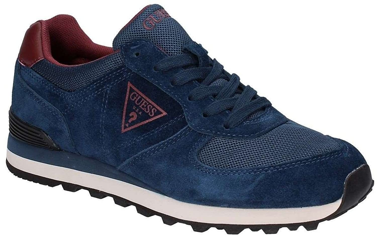#Guess Charlie Navy Red Suede Mens Trainers Shoes