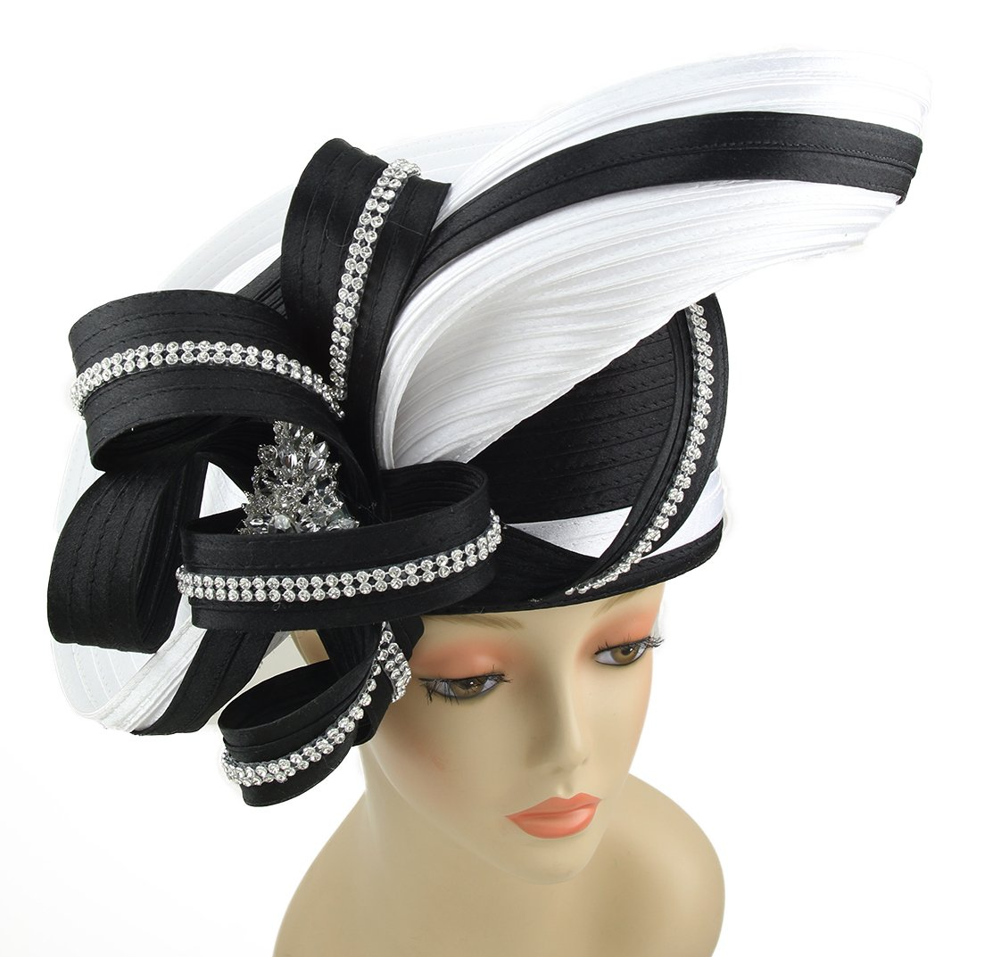 Jane's Hat Janes Women Hat Church Hats Wedding Tea Party Formal Hats (Black White)