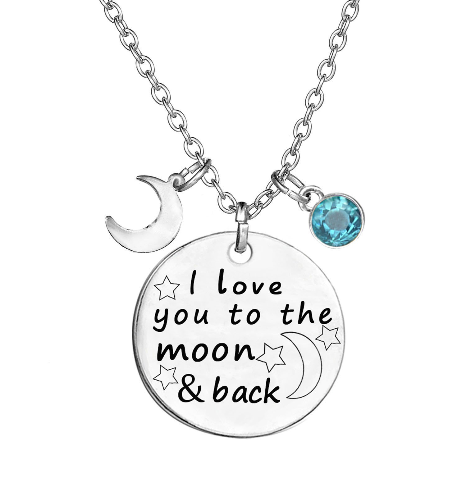 TISDA Birthstone Crystals Necklace,I Love You To The Moon And Back Jewelry Necklace (March)
