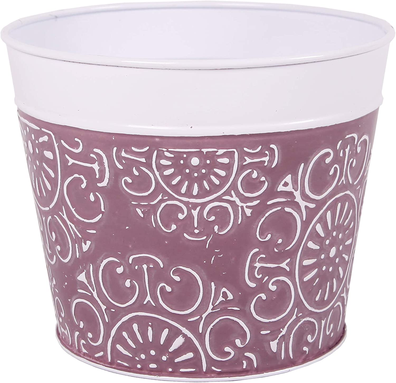 Robert Allen, Plum Purple MPT01087 Medley Series Metal Planter Flower Pot, 6inch, P