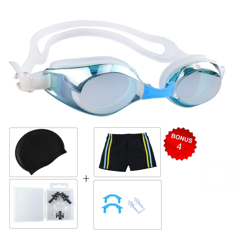 キッズ用/子供用水泳ゴーグル、5のセット水泳ギアとキャップSwim鼻カバー、耳保護 A 5点セット レイクブルー  B078THW1L4