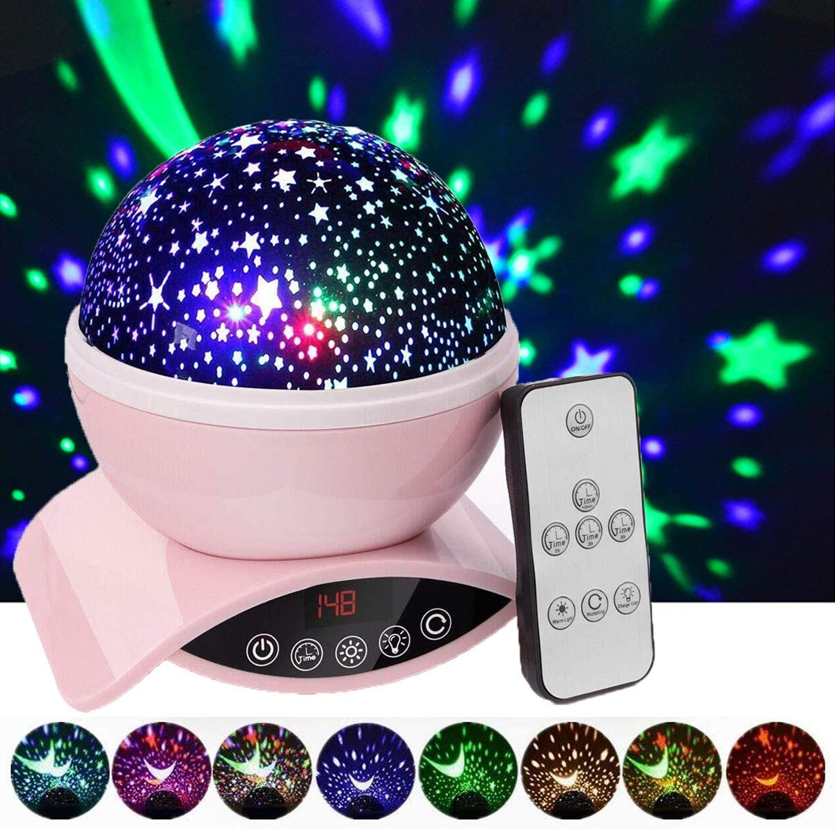 Elecstars Night Lights, Rechargeable Star Projector with Remote Control and Timer Auto Off Design, Rotating Projection Lighting Lamp, Room Decor. (Pink)