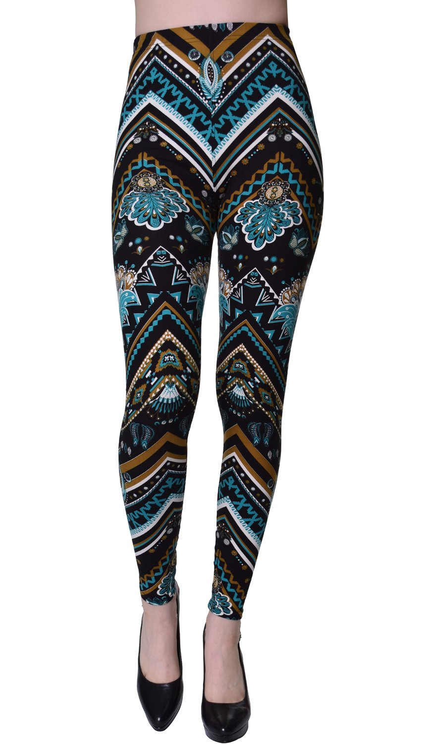 VIV Collection Plus Size Printed Brushed Ultra Soft Leggings (Chevron Astromite)