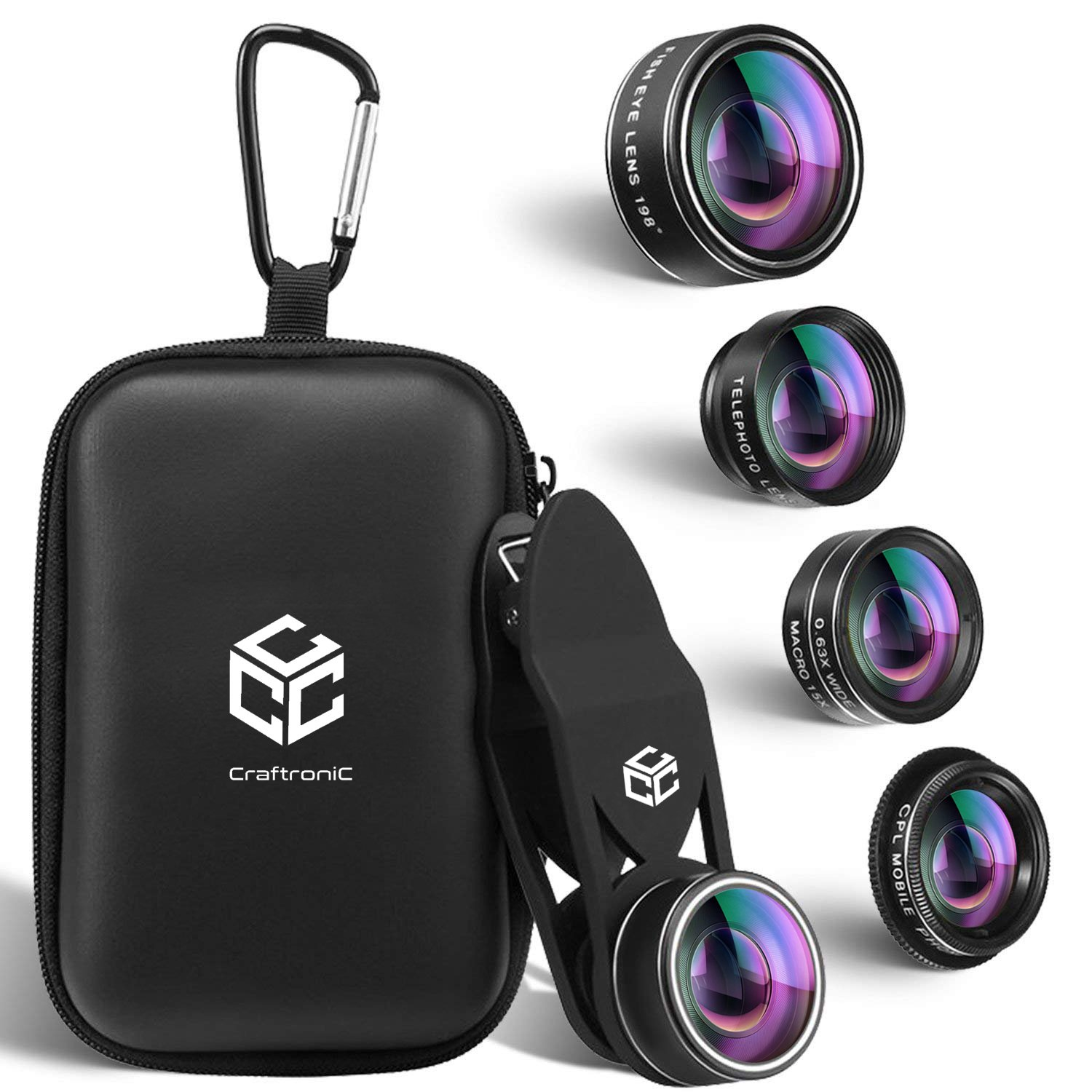 5 in 1 Mobile Camera Lens Kit - Universal Set for iPhone, Samsung, Tablets - 2X Zoom Telephoto, 198° Fisheye, 0.63X Wide Angle, 15X Macro & CPL Filter Lens for Cell Phones with Travel Case