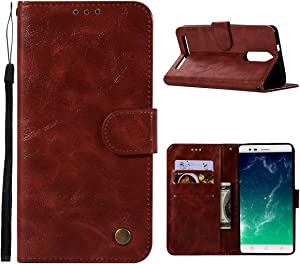 LUSHENG Case for Lenovo Vibe K5 Note,Dual-layer Protection Premium PU Leather Skin Flip Case Wallet Cover Retro Folio Bookstyle Design Shell with Folding Kickstand Feature - Dark Red