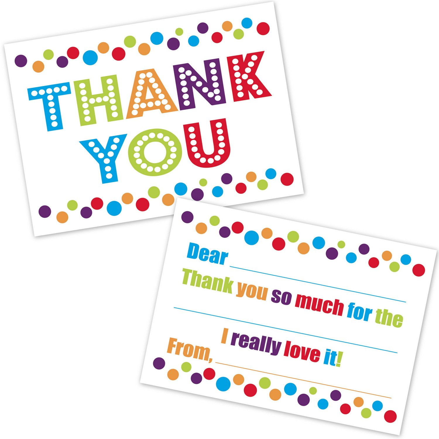 Colorful Confetti Polka Dots Kids Fill In Thank You Cards for Boys and Girls - (20 Count with Envelopes)