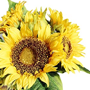 Amzali Artificial Flowers Sunflowers Bouquet for Home Decoration Garden Wedding Decor Centerpieces Real Touch Silk Flowers Bride Holding Flowers Floral Decor