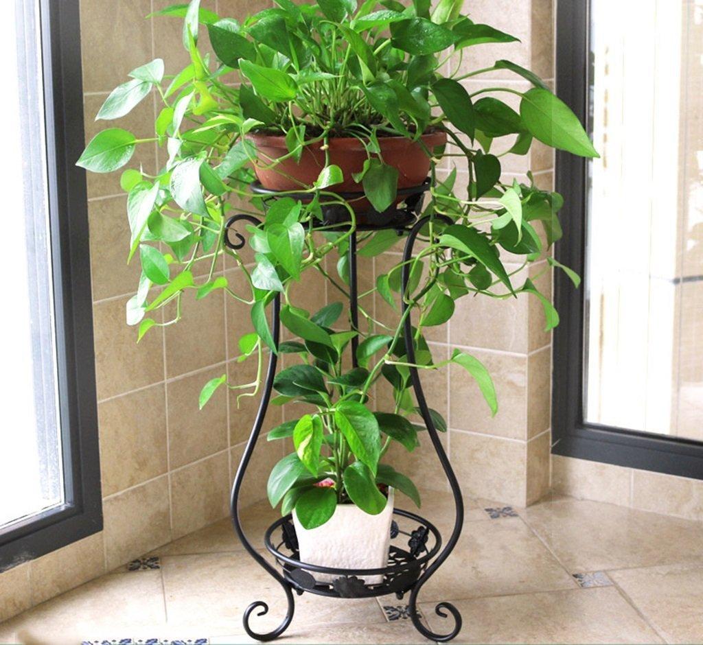 LIAN Pot Rack Flower Stand Fioriera in ferro battuto a più strati Balcone Soggiorno Impianto di terra al coperto Stand Piccolo vaso di fiori decorativi Scaffale (colore   B, dimensioni   Grande)