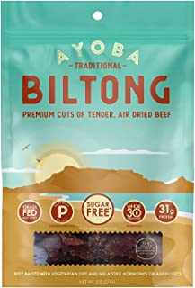 product image for Ayoba Biltong - Grass Fed, Keto and Paleo Certified Air-Dried Beef Snack - Better Than Jerky Tender Steak Cuts - Whole 30 Approved, No Sugar, Gluten Free, No Nitrates (2 Ounce)