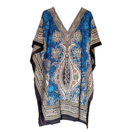 9dd6df1c9f1ea Image Unavailable. Image not available for. Color  Women s Short Tunic  Kaftan Free Size Top Mini Poncho Dress Beach ...