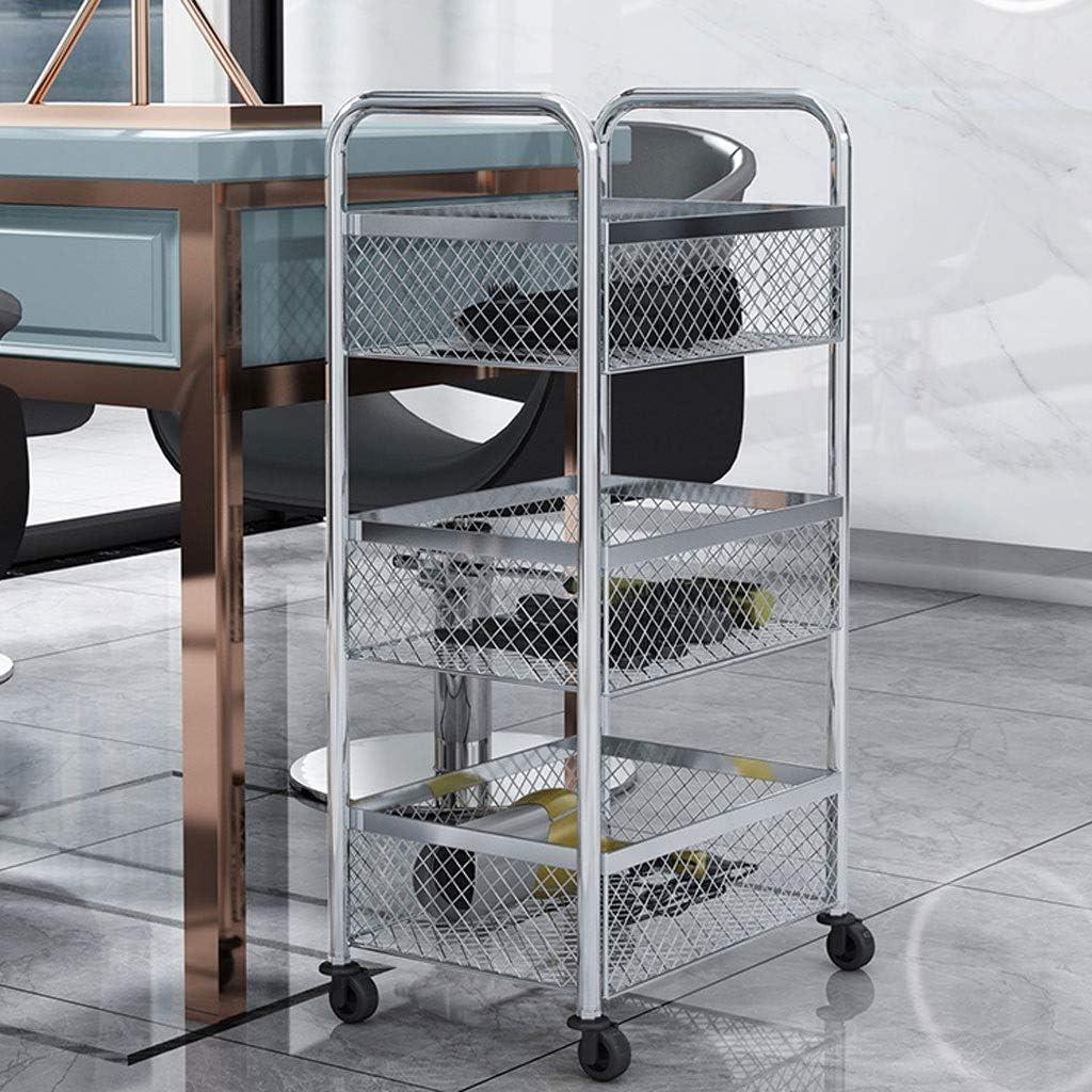 Chariot /à roulettes de Cuisine avec Roues Dor/é Chariot Multi-Usage Color : Silver, Size : Four Floors ZONY Plateau//Plateau en m/étal /à 3//4 tablettes Cuisine