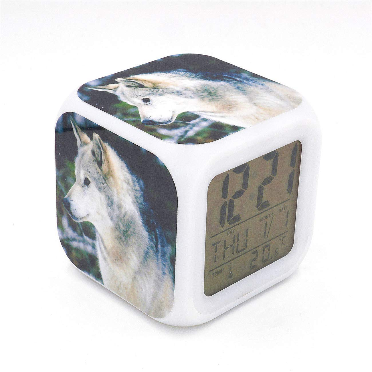 EGS White Wolf Animal Digital Alarm Clock Desk Table Led Alarm Clock Creative Personalized Multifunctional Battery Alarm Clock Special Toy Gift for Unisex Kids Adults