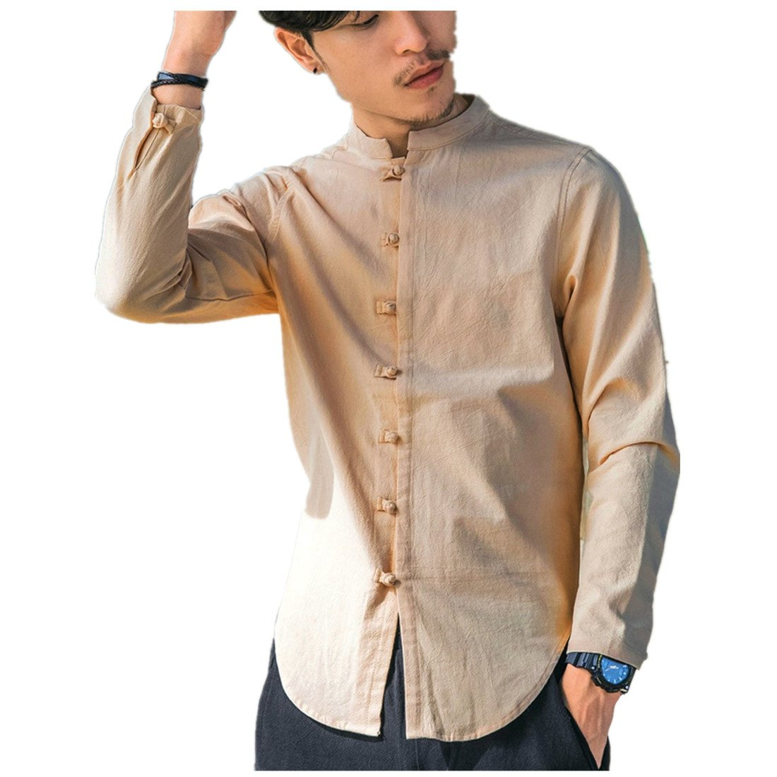 Clearance Vintage T Shirts for Men vermers Men's Casual Tops Summer Long Sleeve T-Shirt Button Linen Solid Blouse(5XL, Khaki)