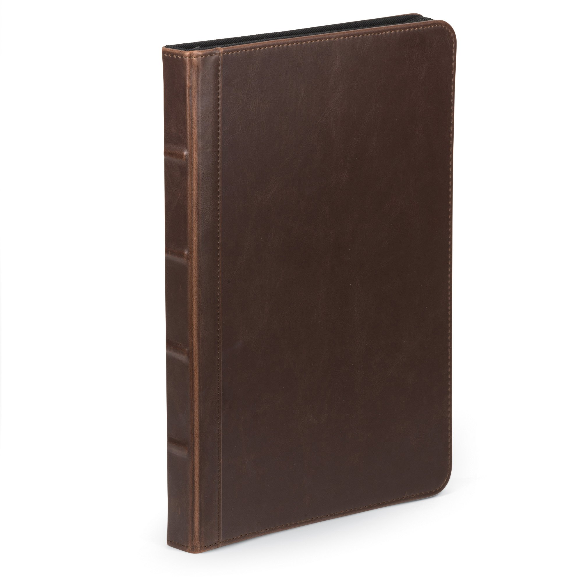 Samsill Vintage Portfolio/Zipper Faux Leather Portfolio, Book Style Hardback Design, Business & Interview Padfolio Organizer, 8.5 x 11 Writing Pad, Dark Brown