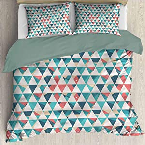 HELLOLEON Geometric Extra Large Quilt Cover Triangle Hexagons Can be Used as a Quilt Cover-Lightweight (King)