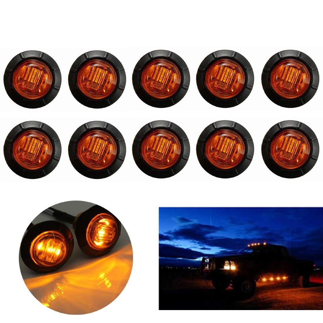 VIGORFLYRUN PARTS LTD 10pcs 3 LED 3//4 Luz de Marcador Latera Indicadores Luz de Freno Luces Laterales Luces Inversas de Respaldo para 12V Cami/ón Remolque Caravana RV Bus Blanco