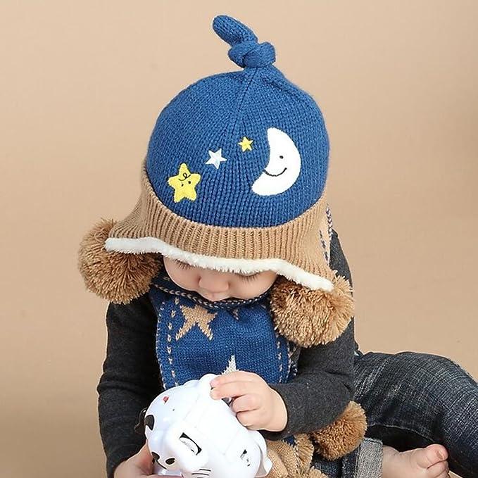 cosanter gorro bufanda conjuntos invierno Beanie Cap bufanda de punto para  niños de lana de color azul bebé 6 - 24 meses  Amazon.es  Bebé 1f0de99b3f8