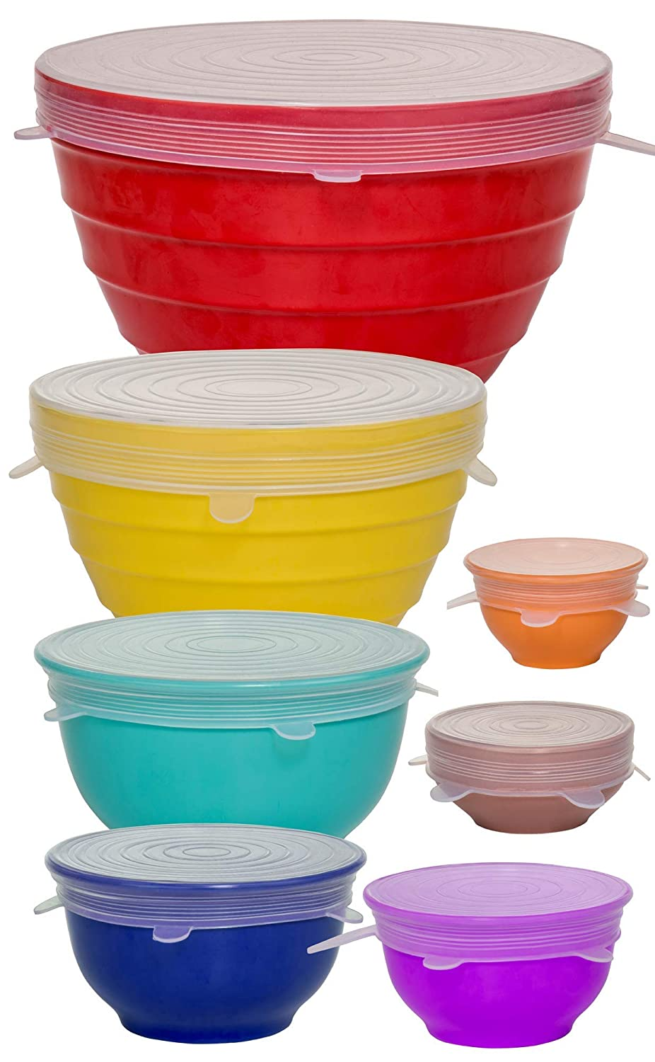 Reusable Silicone Stretch Lids - Incl. Exclusive XL size - Set Of 7 Versatile Silicon Covers - Fits Any Container Or Bowl To Keep Food Fresh - For Storing & Reheating- Easy To Clean- Bonus Storage Bag