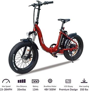 VTUVIA Bicicleta eléctrica Plegable con Motor de 500 W y batería ...