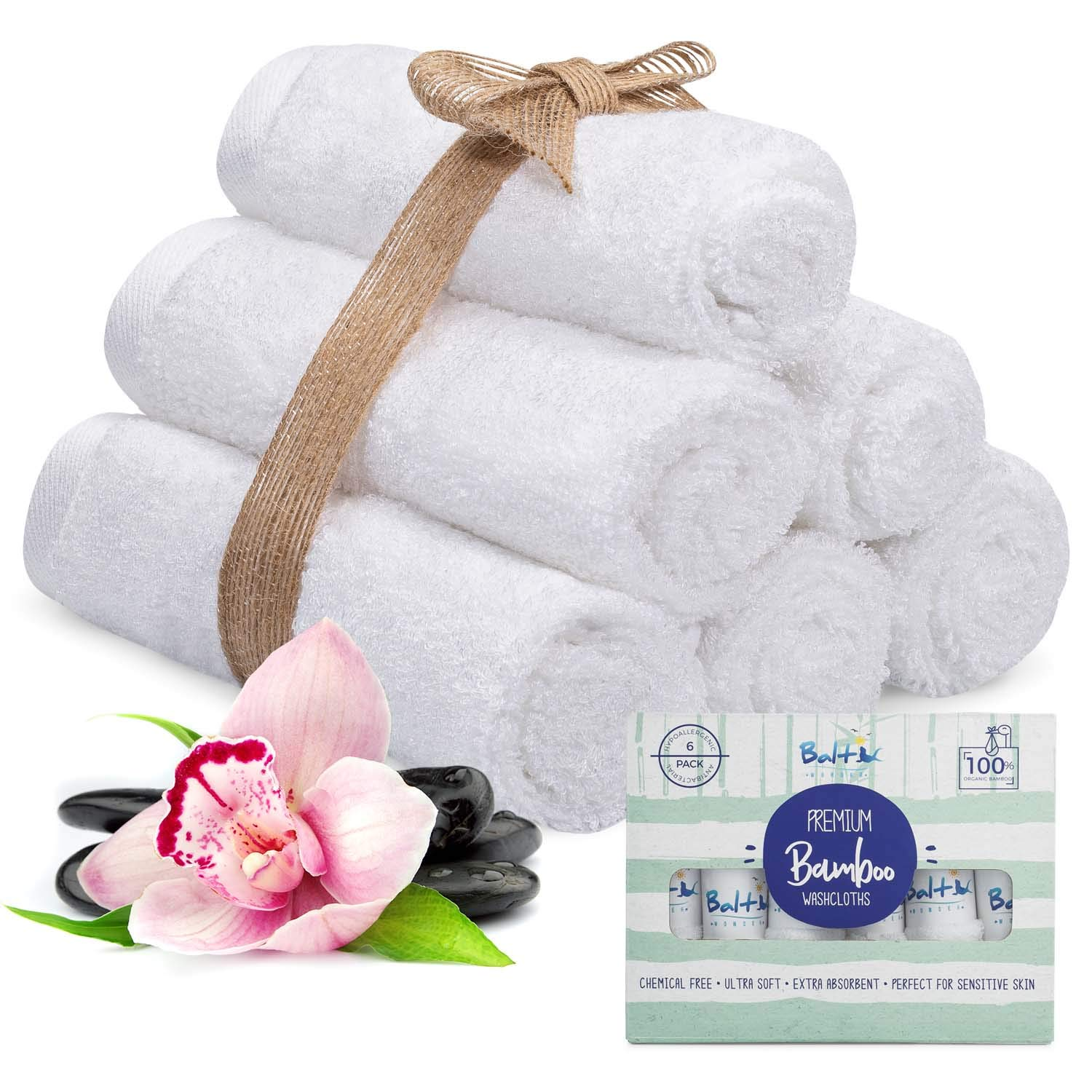 Baby Washcloths – Organic Bamboo With A Soft Cotton blend. Towel, Ultra Soft and Absorbent, Natural Reusable Wipes Perfect for Sensitive Skin and Newborn Bath, Ideal Baby Registry and Baby Shower Gift