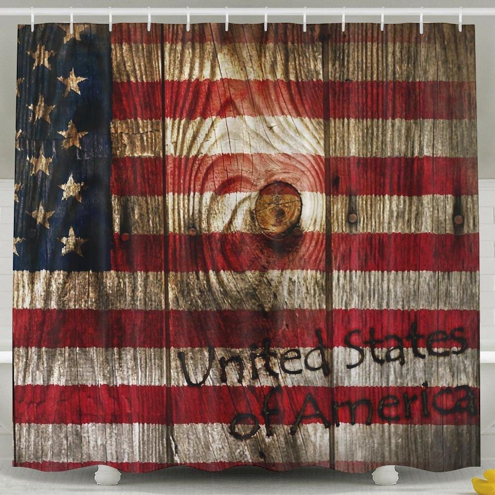 BINGO FLAG Funny Fabric Shower Curtain United Sates Of American Waterproof Bathroom Decor With Hooks 60 X 72 Inch