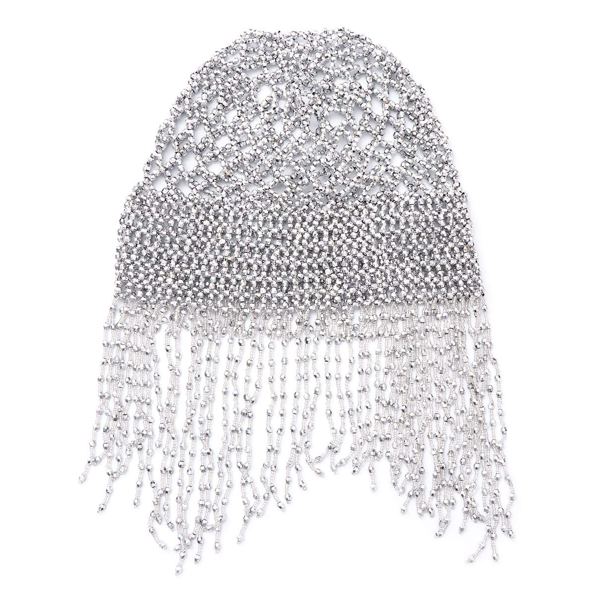 Frcolor Womens Exotic Cleopatra Belly Dance Beaded Cap Sparkling Stretch Headpiece Dance Costume Accessory (Silver)
