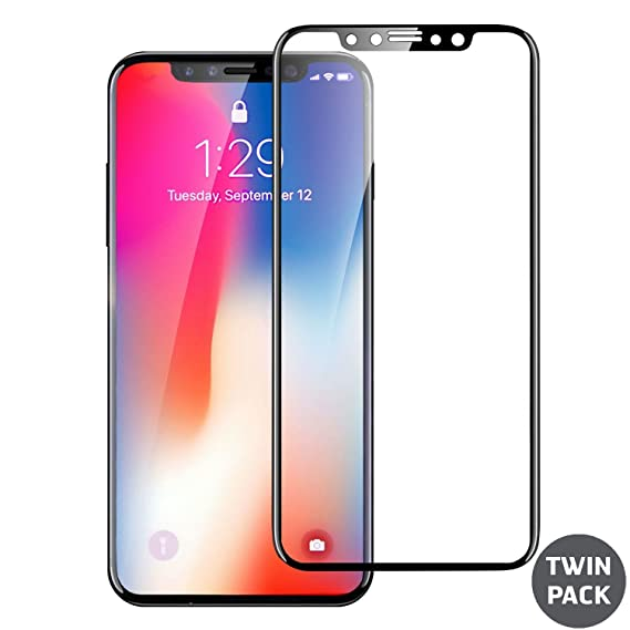 reputable site e795d 8feb7 iPhone X Screen Protector - Full Cover/Edge to Edge Protection - Tempered  Glass 9H Hardness - Olixar Shatterproof Screenguard + Application Tool - ...