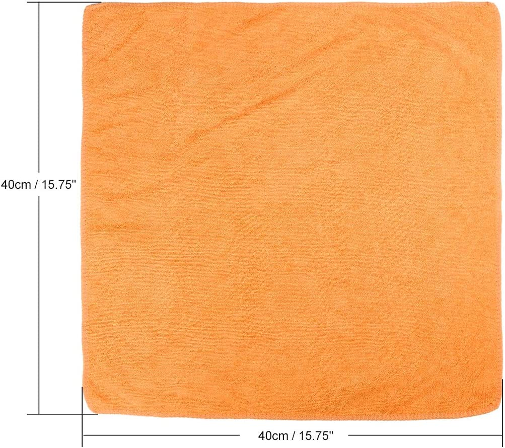 X AUTOHAUX 3pcs Yellow 300gsm Microfiber Cleaning Cloth Absorbent Washing Towel 40 x 40cm