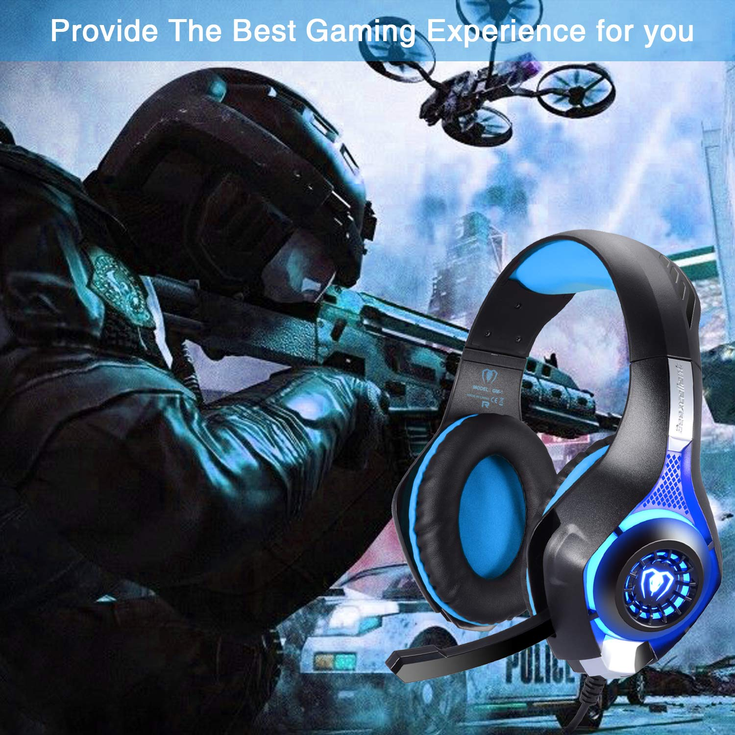 PC Laptop Green BlueFire Stereo Gaming Headset for Playstation 4 PS4 Over-Ear Headphones with Mic and LED Lights for Xbox One