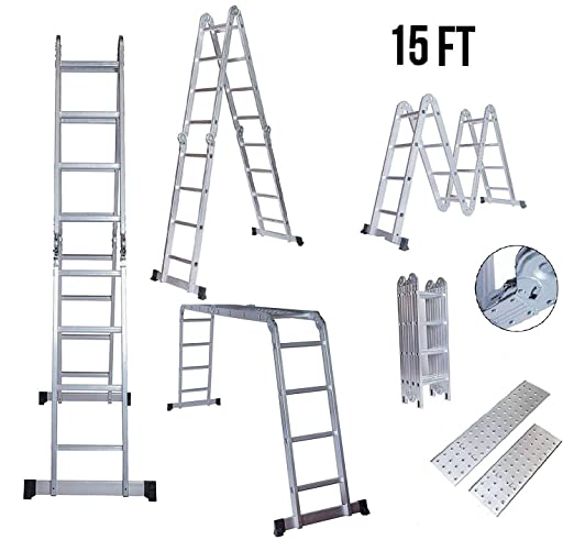 EQUAL Foldable and Adjustable Aluminium 4 x 4 Steps Super Ladder Cum Working Bench Table with Scaffolding Platform and Shelf, 15ft (Anodized Silver)