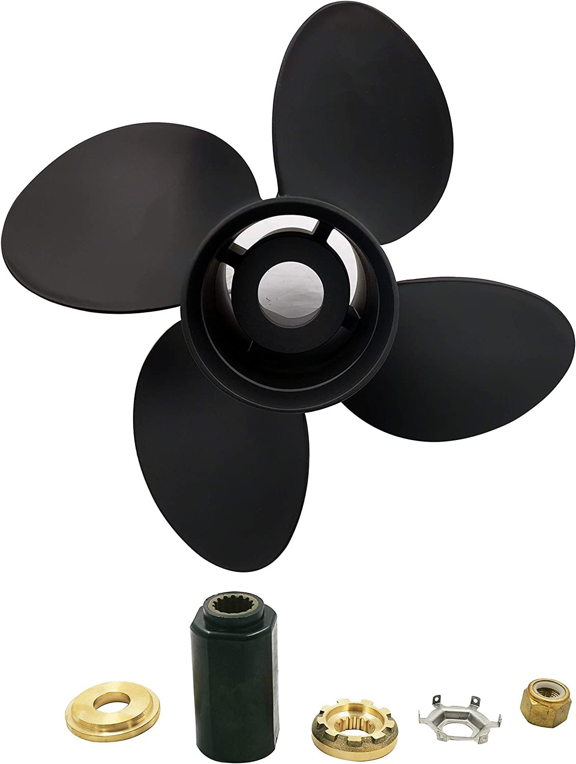 POLAMAX Aluminum 4 Blade Prop Propeller with Interchangeable Hub Kits for Mercury D 40-140HP