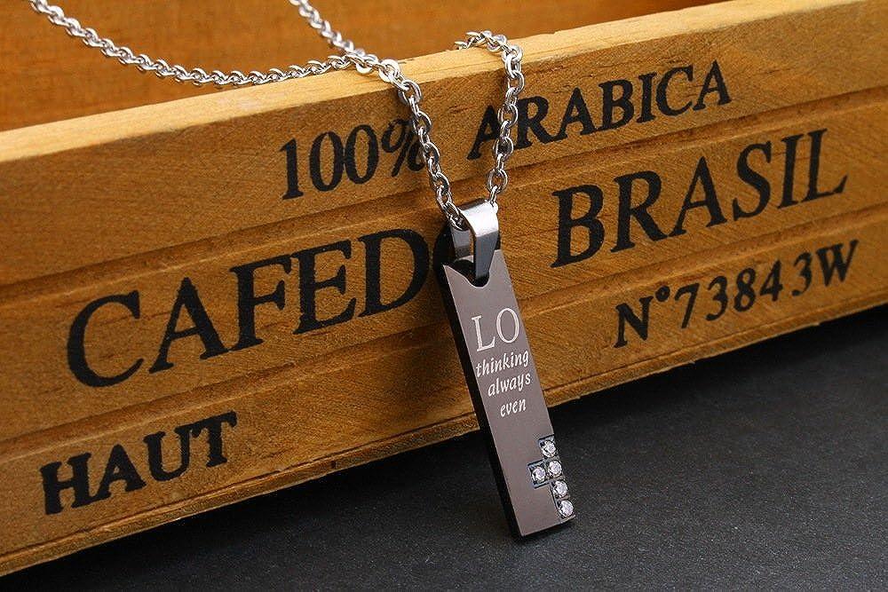 Uloveido Titanium Necklace for Couples Rectangular Pendants Cubic Zirconia for Men Women SN036 20/%