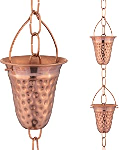 Marrgon Copper Hammered Rain Chain – Decorative Chimes & Cups Replace Gutter Downspout & Divert Water Away from Home for Stunning Fountain Display – 8.5' Long for Universal Fit – Bell Style