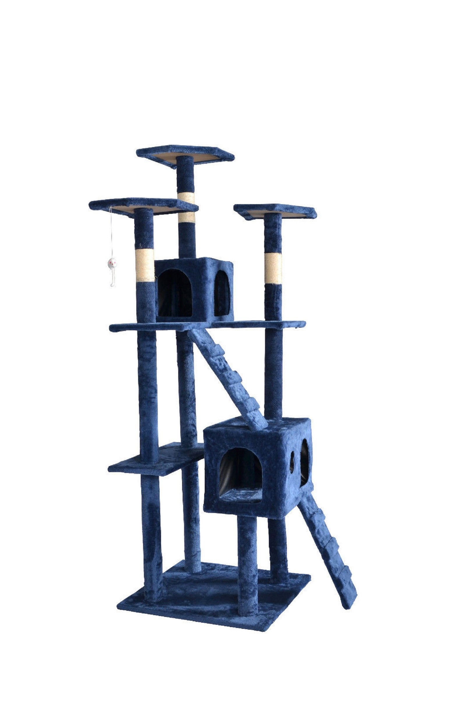 Hot Sale! 73'' Cat Tree Scratcher Play House Condo Furniture Toy Bed Post Pet House T07 (Condo Height: 73'', Navy Blue)