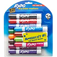 Low Odor Dry Erase Markers, Chisel Tip, Assorted Colors, 12 Count - New