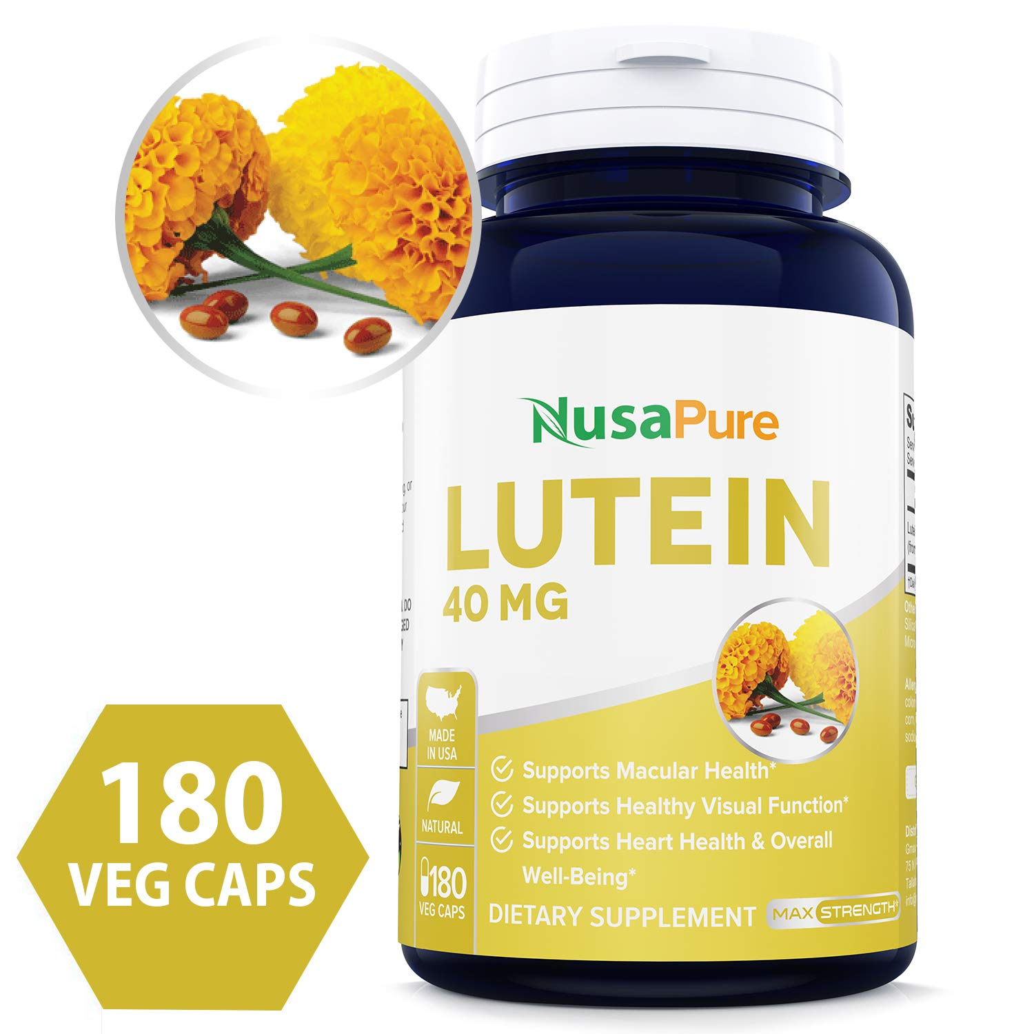 Lutein 40mg 180 Veggie Capsules (Non-GMO & Gluten Free) Vision Support Supplement for Dry Eyes & Vision Health Care by NusaPure