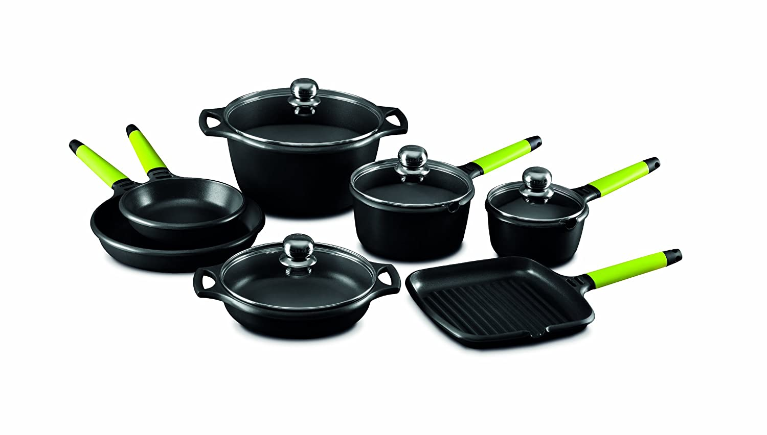 Fundix by Castey 11-Piece Nonstick Cast Aluminium Induction Set with Removable Kiwi Handle by Castey: Amazon.es: Hogar