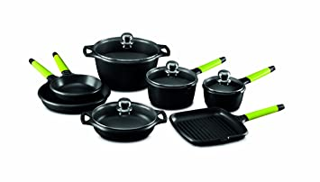 Fundix by Castey 11-Piece Nonstick Cast Aluminium Induction Set with Removable Kiwi Handle by