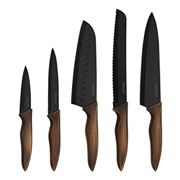 Hecef Kitchen Knife Set, Stainless Steel Non Stick Black Color Coating Blade Knives, Includes 8'' Chef Knife, 8'' Bread Knife, 7'' Santoku Knife, 5''utility Knife And 3.5'' Paring Knife by Hecef