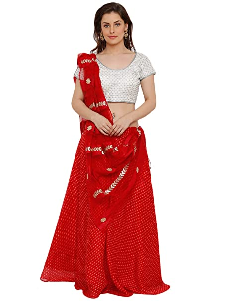 0d702975ad Salwar Studio Women's White & Red Brocade Silk readymade Free size Lehenga  Choli with Dupatta(OM-0036924_Red_Free Size): Amazon.in: Clothing &  Accessories