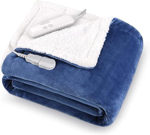 MaxKare Electric Blanket Heated Throw Flannel Sherpa Fast Heating Blanket 50″ x 60″