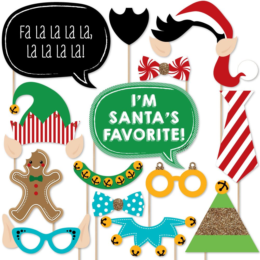 20 Count Big Dot of Happiness Christmas Elfie Selfie Holiday /& Christmas Photo Booth Props Kit