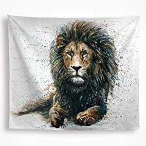 Lion Tapestry Wall Hanging Colorful Leo African Lion King Watercolor Wild Animal Drawing Home Décor Art for Boy's room Living Room Dorm 51x59 Inch White