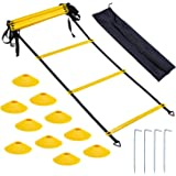 Bligo Speed Agility Training Equipment Set - Includes 23 ft Ladder with 4 Hooks, 10 Cones - Kit for Athletes, Football…
