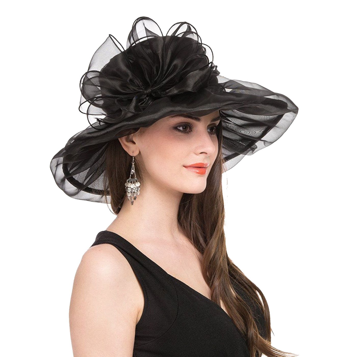 Women's Organza Kentucky Derby Church Fascinator Bridal Cap Wide Brim Hat for Tea Party Wedding (Hat 1 Black)