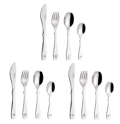 EXZACT Cubiertos para niños 12 piezas de acero inoxidable/utensilios para niños pequeños: 3 x tenedores, 3 x cuchillos de cena seguros, 3 x cucharas ...