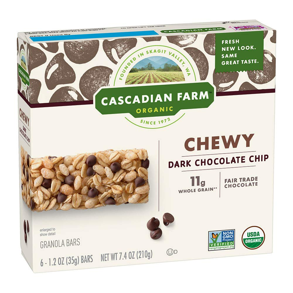 Cascadian Farm Organic Granola Bars, Chocolate Chip Chewy Granola Bars, 6 Bars (Pack of 6)
