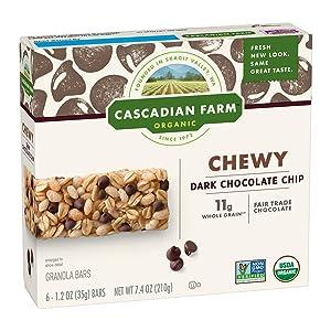 Cascadian Farm Organic Granola Bars, Chocolate Chip Chewy Granola Bars, 6 Bars
