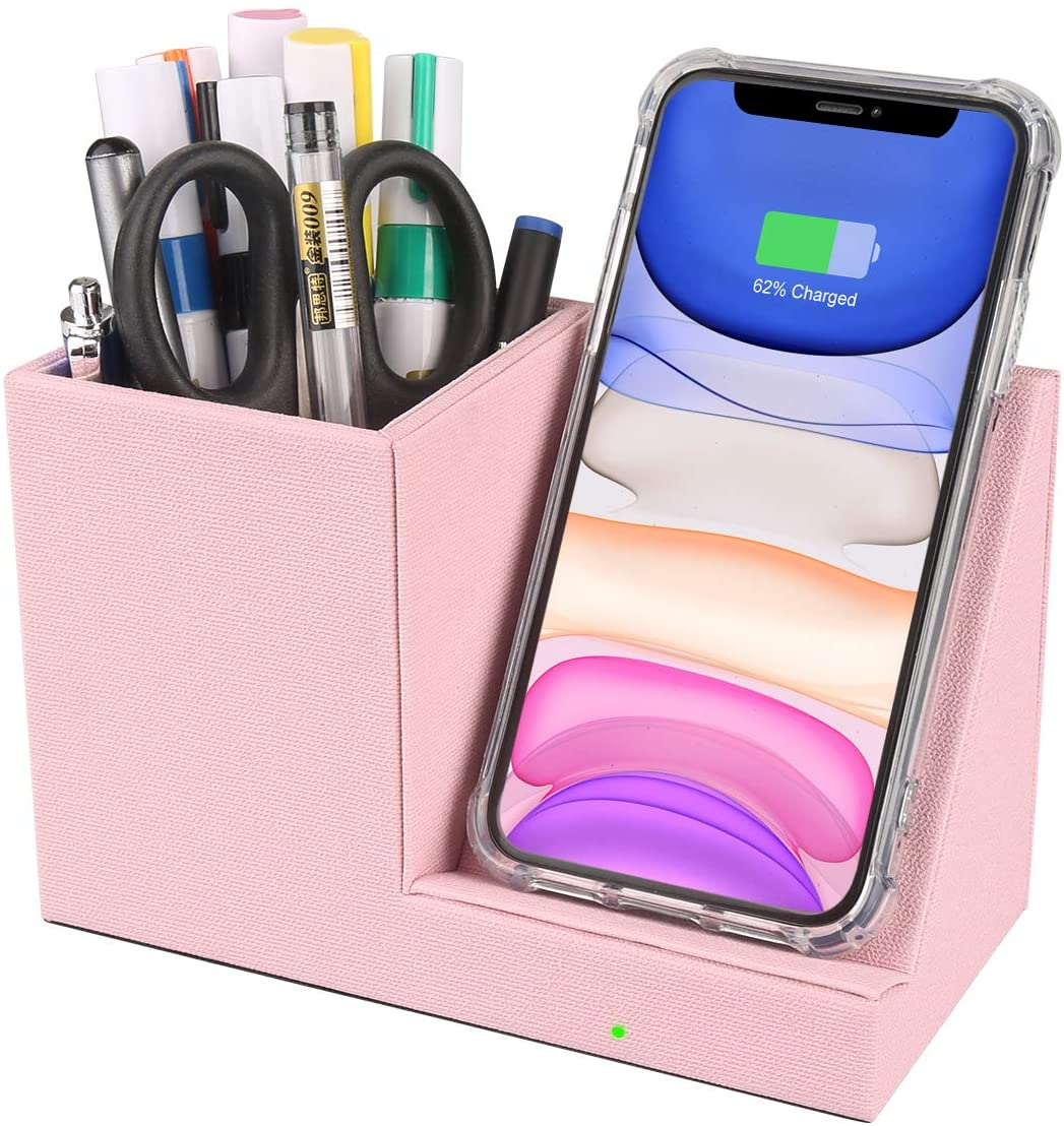 VHEONET 10W Fast Wireless Charger with Desk Organizer Qi Certified Fabric Induction Charger Stand Pen Pencil Holder Compatible iPhone 11//Xs MAX//XR//XS//X//8//8 Samsung S10//S9//S9+//S8//S8+//Note 10