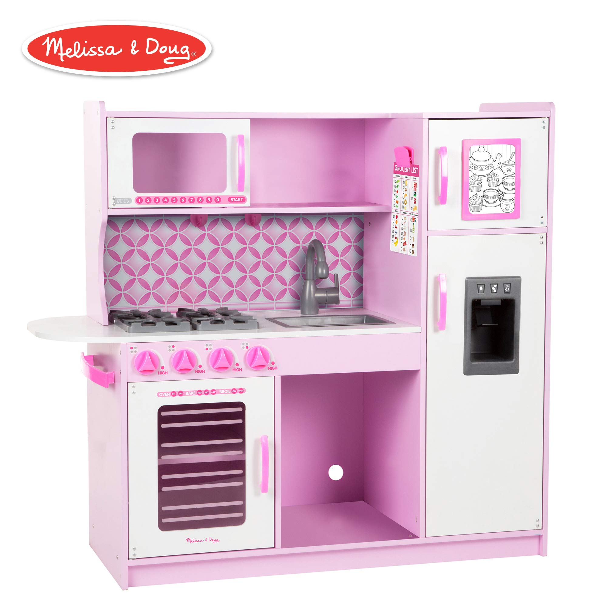 Melissa & Doug Chef's Kitchen, Pretend Play Set, Cupcake (Easy to Assemble, Durable Wooden Construction, Multiple Working Parts, 39'' H x 43.25'' W x 15.5'' L) by Melissa & Doug